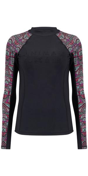 2018 Animal Womens Keshia Waves Long Sleeve Rash Vest Black CL8SN345