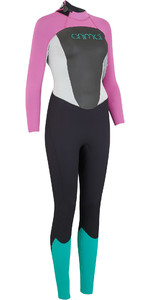 2019 Animal Womens Lava 4/3mm Back Zip GBS Wetsuit Black AW9SQ301