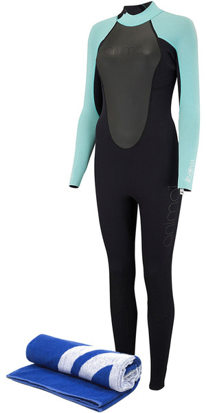 2018 Animal Womens Nova 3/2mm Flatlock Back Zip Wetsuit Black AW8SN302 & Free Beach Towel