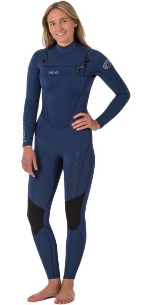 2018 Animal Womens Phoenix 5/4/3mm GBS Chest Zip Wetsuit Dark Navy AW8WN303