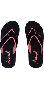 2020 Animal Womens Swish Block Flip Flops / Sandals FM0SS301 - Black