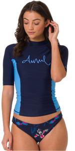 2019 Animal Womens Vickie Short Sleeve Rash Vest Mid Navy CL9SQ340
