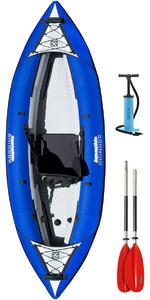 2019 Aquaglide Chinook 1 Man Inflatable Kayak BLUE + 1 FREE PADDLE + Pump