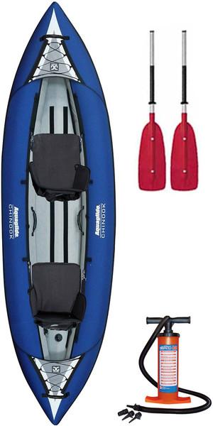 2018 Aquaglide Chinook 2 Man Inflatable Kayak BLUE + 2 FREE PADDLES + Pump