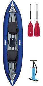 2019 Aquaglide Chinook Tandem 3 Man Inflatable Kayak BLUE & 2 PADDLES & Pump