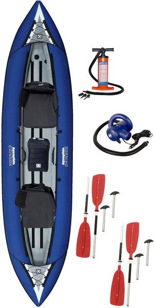2018 Aquaglide Chinook Tandem 3 Man Kayak + Paddles, Manual Pump & High Pressure Electric Pump