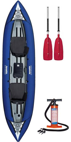2018 Aquaglide Chinook Tandem 3 Man Inflatable Kayak BLUE & 2 PADDLES & Pump