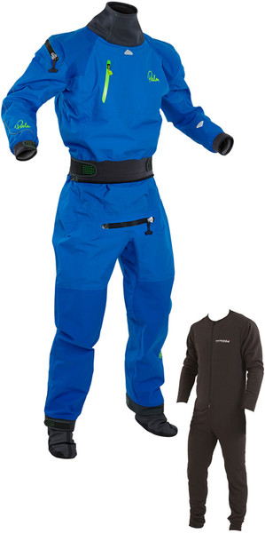 2018 Palm Atom Back Zip Whitewater Kayak Drysuit Inc Underlfeece Blue 11735