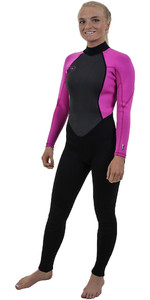2019 O'Neill Womens Reactor II 3/2mm Back Zip Wetsuit BLACK / BERRY 5042