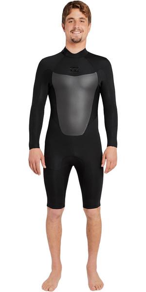 2018 Billabong Absolute 2mm GBS Long Sleeve Back Zip Shorty Wetsuit BLACK H42M10