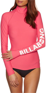 Billabong Womens Logo Long Sleeve Rash Vest PASSION FRUIT H4GY02