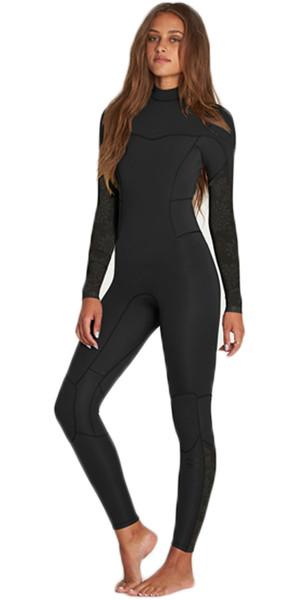 2018 Billabong Womens Synergy 3/2mm Flatlock Back Zip Wetsuit BLACK H43G12