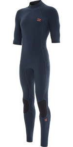 2021 Billabong Mens Absolute 2mm Flatlock Short Sleeve Back Zip Wetsuit W42M70 - Slate Blue