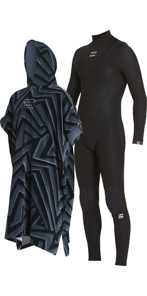 2018 Billabong Absolute Comp 4/3mm Chest Zip Wetsuit & Poncho / Changing Robe Bundle Offer