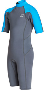 2019 Billabong Junior Boys Furnace Absolute 2mm Back Zip Shorty Wetsuit Ash N42B04