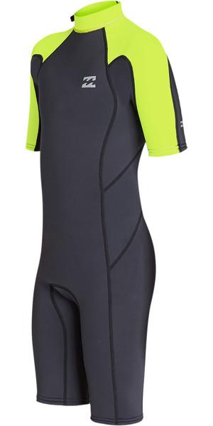 2019 Billabong Junior Boys Furnace Absolute 2mm Back Zip Shorty Wetsuit Neon Yellow N42B04