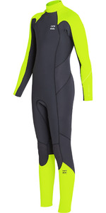 2019 Billabong Junior Boys Furnace Absolute 3/2mm Back Zip Wetsuit Neon Yellow N43B05