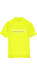2019 Billabong Junior Boys Unity Short Sleeve Rash Vest Lime N4KY07