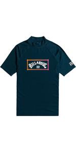 2021 Billabong Junior Boys Unity Short Sleeve Rash Vest W4KY14 - Navy
