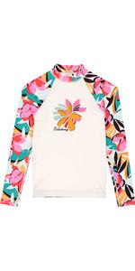 2019 Billabong Junior Girls Flower Long Sleeve Rash Vest Seashell N4KY04