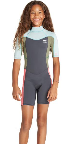 2019 Billabong Junior Girls Synergy 2mm Back Zip Shorty Wetsuit Seafoam N42B07