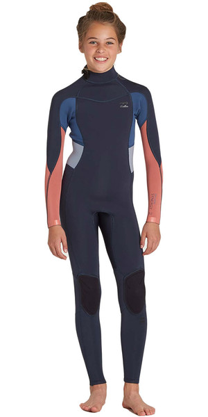 2018 Billabong Junior Girls Synergy 3/2mm Back Zip Flatlock Wetsuit SLATE H43B05