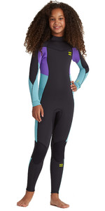 2020 Billabong Junior Girls Synergy 3/2mm Back Zip Flatlock Wetsuit S43B52 - Blue Lagoon