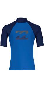2018 Billabong Junior Team Wave Short Sleeve Rash Vest PETROL BLUE H4KY03