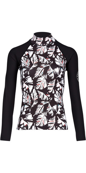 2018 Billabong Womens Flower Long Sleeve Rash Vest FEATHER BLACK PEBBLE H4GY04