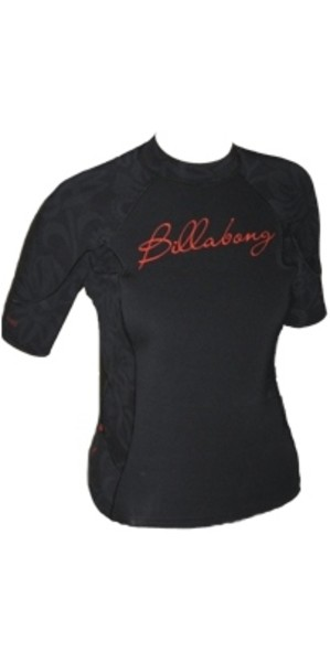 Billabong Ladies Short Sleeve 1mm Neo Top in Black / Red V4EQ06