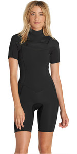 2018 Billabong Womens Synergy 2mm Chest Zip Shorty Wetsuit BLACK H42G05