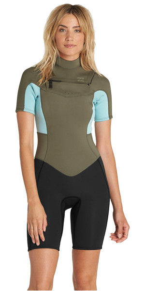 2018 Billabong Womens Synergy 2mm Chest Zip Shorty Wetsuit MOSS H42G05