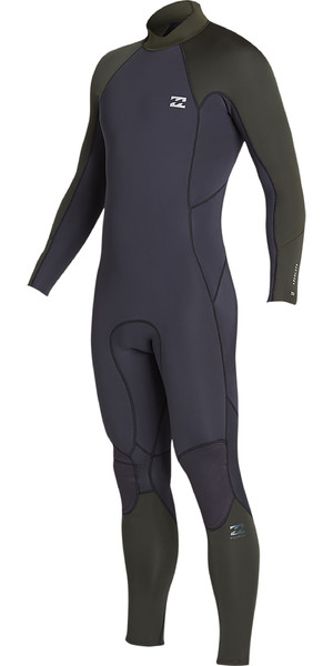 2019 Billabong Mens 3/2mm Furnace Absolute Back Zip Wetsuit Black Olive N43M33