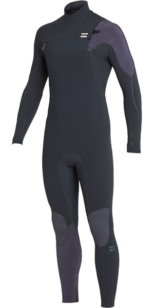 2019 Billabong Mens 3/2mm Furnace Carbon Comp Chest Zip Wetsuit Black Sands N43M02