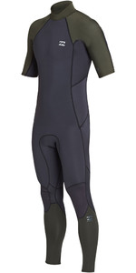 2019 Billabong Mens 2mm Furnace Absolute Back Zip Short Sleeve Wetsuit Black Olive N42M29