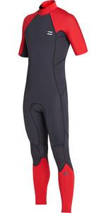 2019 Billabong Mens 2mm Furnace Absolute Back Zip Short Sleeve Wetsuit Red N42M29