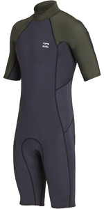 2019 Billabong Mens 2mm Absolute Back Zip Shorty Wetsuit Black Olive N42M24