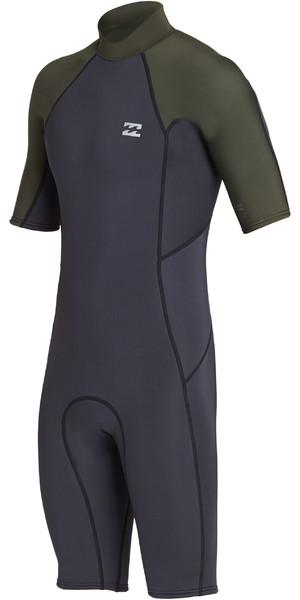 2019 Billabong Mens 2mm Furnace Absolute Back Zip Shorty Wetsuit Black Olive N42M24
