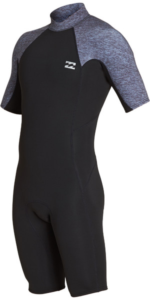 2019 Billabong Mens 2mm Furnace Absolute Back Zip Shorty Wetsuit Grey Heather N42M24