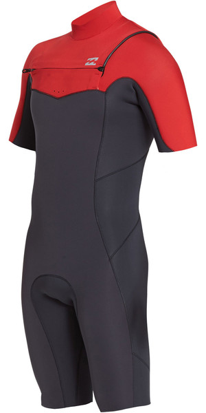 2019 Billabong Mens 2mm Furnace Absolute Chest Zip Shorty Wetsuit Red N42M23