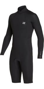 2019 Billabong Mens 2mm Absolute Long Sleeve GBS Back Zip Shorty Wetsuit Black / Silver N42M21