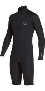 2019 Billabong Mens 2mm Furnace Absolute Long Sleeve GBS Back Zip Shorty Wetsuit Black / Silver N42M21