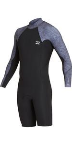 2019 Billabong Mens 2mm Absolute Long Sleeve GBS Back Zip Shorty Wetsuit Grey Heather N42M21