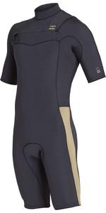 2019 Billabong Mens 2mm Revolution Chest Zip Shorty Wetsuit Black Sands N42M08
