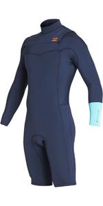 2019 Billabong Mens 2mm Revolution Long Sleeve Chest Zip Shorty Wetsuit Cyan N42M09