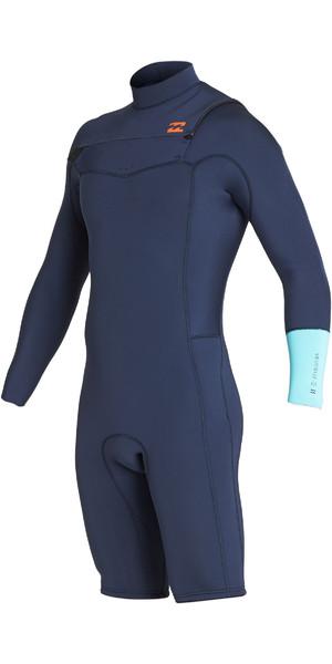 2019 Billabong Mens 2mm Furnace Revolution Long Sleeve Chest Zip Shorty Wetsuit Cyan N42M09