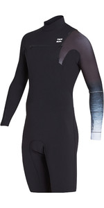 2019 Billabong Mens 2mm Pro Series Chest Zip Long Sleeve Shorty Wetsuit Black Fade N42M04