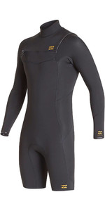 2020 Billabong Mens Absolute 2mm GBS Chest Zip Long Sleeve Shorty Wetsuit S42M68 - Antique Black