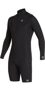 2020 Billabong Mens Absolute 2mm GBS Chest Zip Long Sleeve Shorty Wetsuit S42M68 - Black