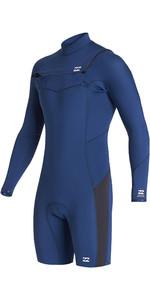 2020 Billabong Mens Absolute 2mm GBS Chest Zip Long Sleeve Shorty Wetsuit S42M68 - Blue Indigo